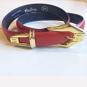 Vintage Red Italian leather belt gold buckle sizeM
